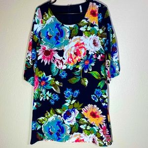 Floral Dress Midi A-line Shift Long Sleeve Dress